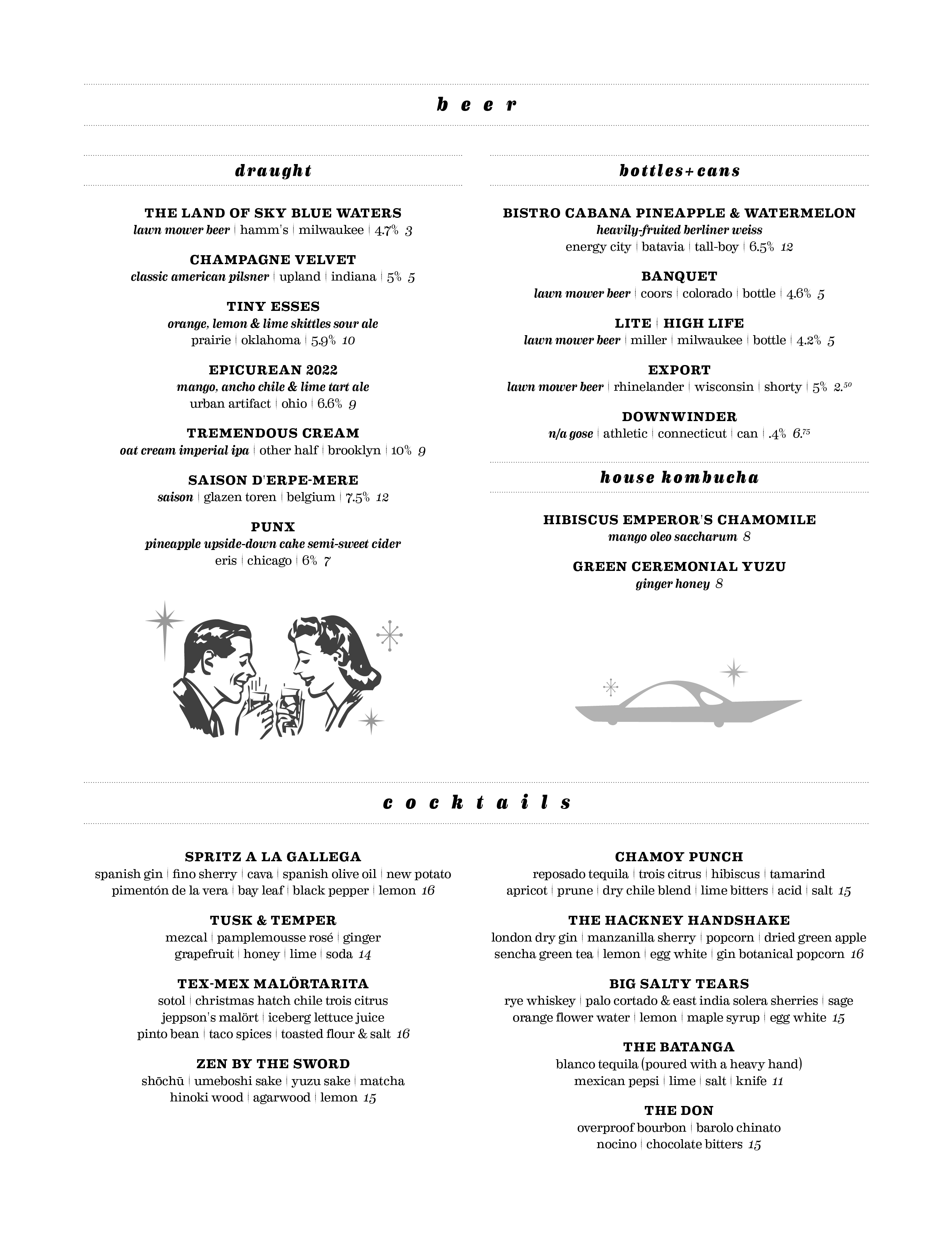 Duck Inn Beverages Menu Page2