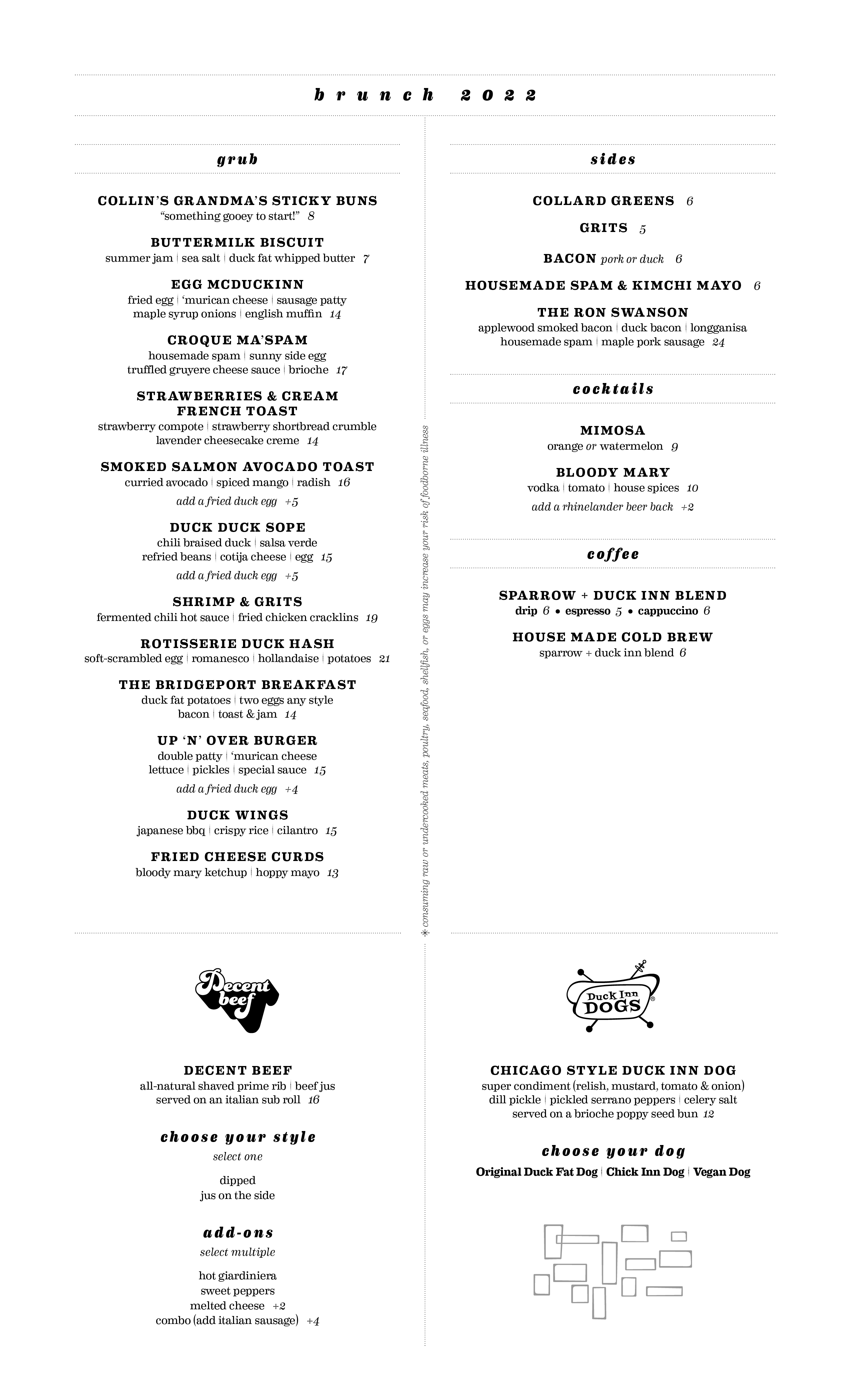 Duck Inn Brunch Menu