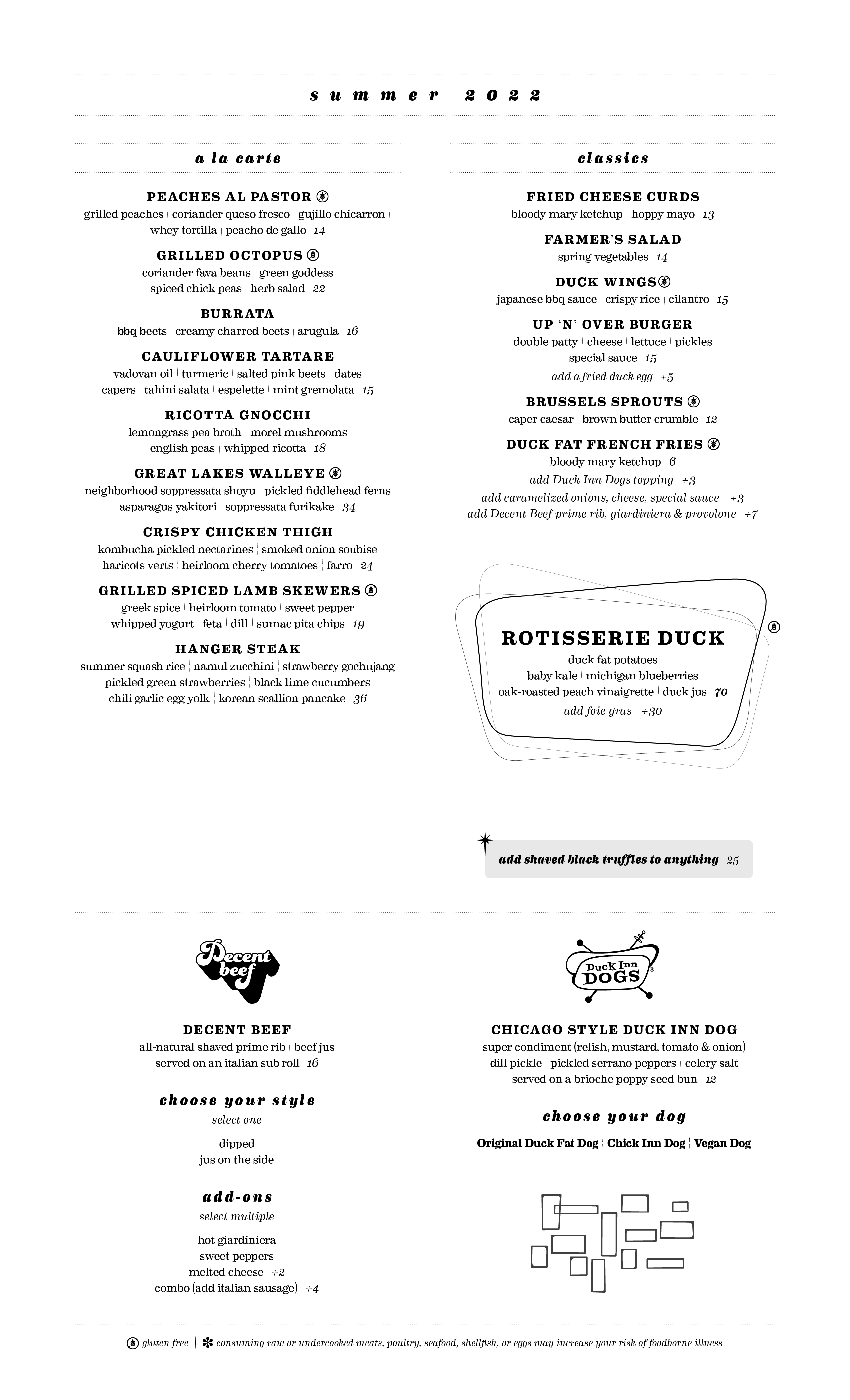 Duck Inn Dinner Menu